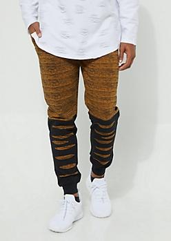 Camel Space Dye Slashed Knit Joggers