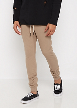 Taupe Layered Knit Jogger