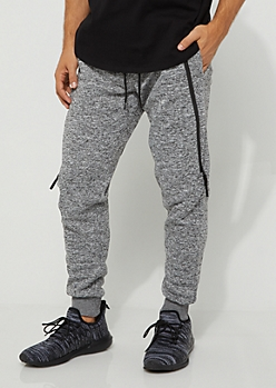 Charcoal Space Dye Zipped Fleece Jogger