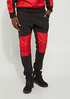 Red Nylon Blocked Jogger