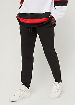 Black Zipped Fleece Jogger