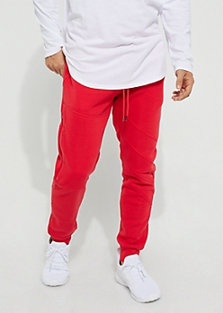 Red Zipped Fleece Jogger