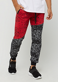 Red Paint Splattered Color Block Jogger