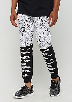 White Distressed Paint Splattered Jogger