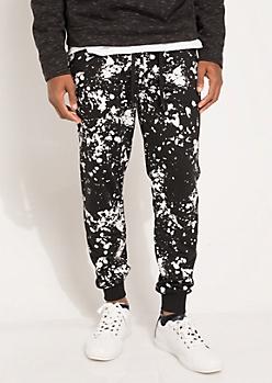 Black Paint Splattered Double Zip Joggers