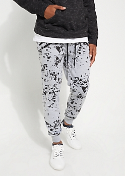 Heather Gray Paint Splattered Double Zip Jogger