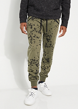 Olive Paint Splattered Double Zip Jogger