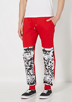 Red King Of Cards Jogger