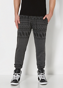 Charcoal Gray Tribal Knit Jogger
