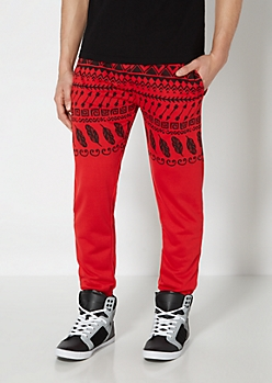 Red Tribal Knit Jogger