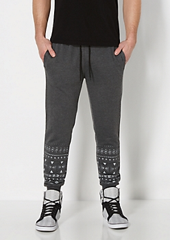 Black Aztec Knit Jogger