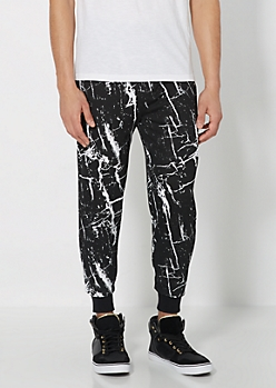 Marbled Print Knit Jogger