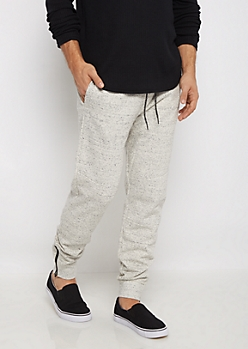 White Speckled Fleece Joggers