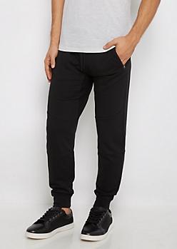 Black Zip Pocket Fleece Joggers