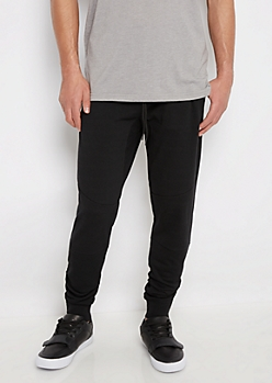 Black Zip Ankle Fleece Jogger