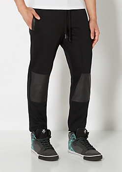 Pieced Faux Leather Athletic Jogger