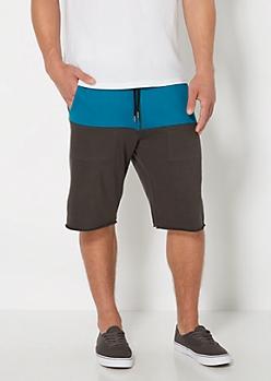 Teal Color Block Knit Short