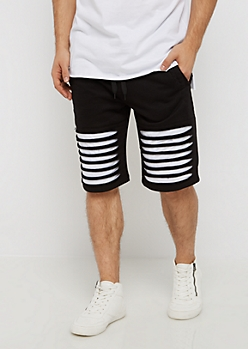 Black Color Block Shredded Short