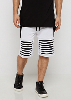 White Color Block Shredded Short