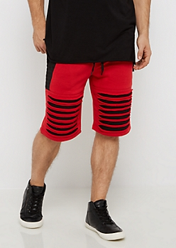 Red Color Block Shredded Short