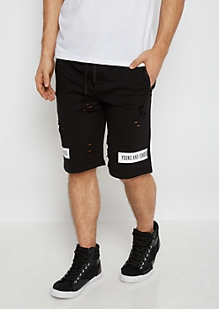 Young & Funded Destroyed Knit Short