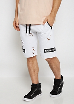 White Young & Funded Destroyed Knit Short