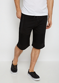 Black Terry Knit Moto Short
