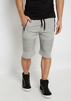 Heather Gray Terry Knit Moto Short
