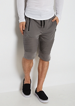 Charcoal Gray Terry Knit Moto Short