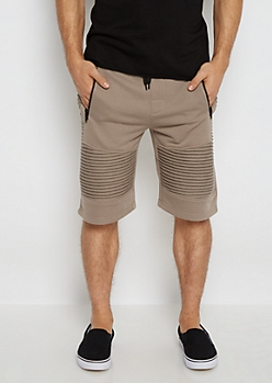 Light Brown Terry Knit Moto Short