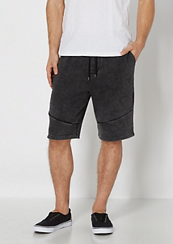 Black Washed Knit Short