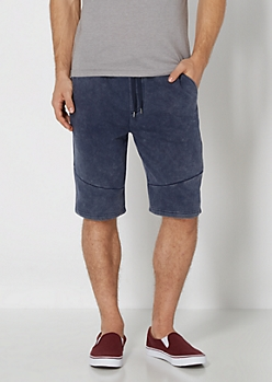 Navy Washed Knit Short