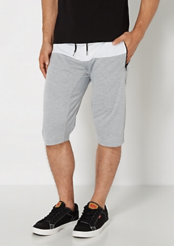Heathered Gray Blocked Jogger Short
