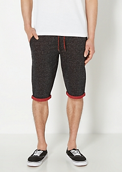 Red Rolled Cuff Marled Jogger Short