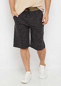 Black Marled Knit Short