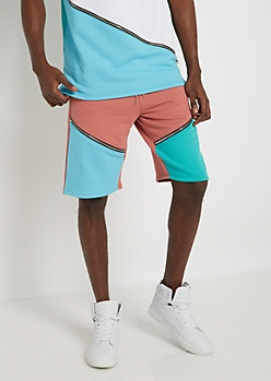 Coral Color Blocked & Zipped Short