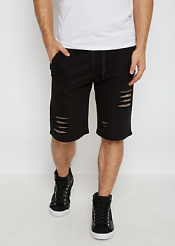 Black Slashed Knit Short