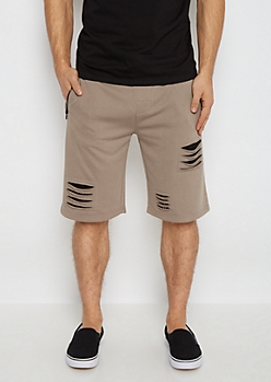 Light Brown Slashed Knit Short