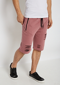 Pink Slashed Knit Short