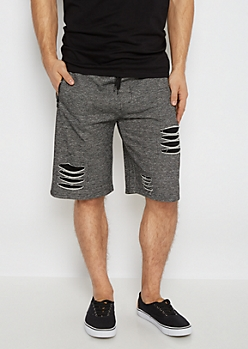 Charcoal Marled Slashed Knit Short