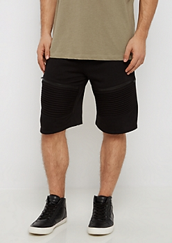 Black Zipped Moto Short