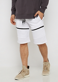 White Zipped Moto Short
