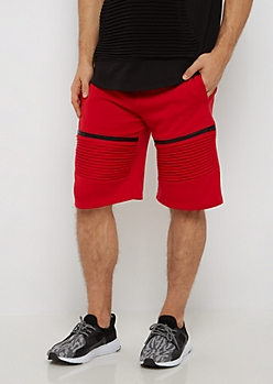 Red Zipped Moto Short