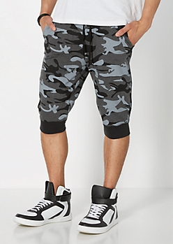 Black Camo Jogger Short