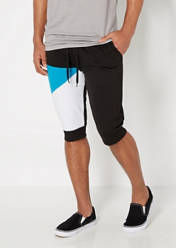 Color Split Knit Jogger Short