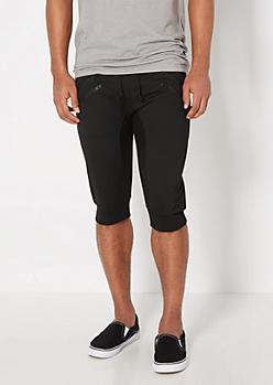 Black Double Zip Jogger Short