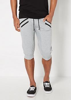 Gray Double Zip Jogger Short