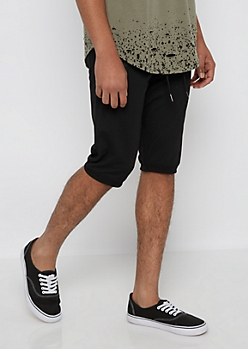 Black Double Zip Jogger Short