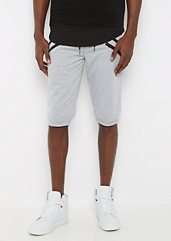 Heather Gray Double Zip Jogger Short