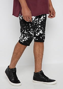 Paint Splattered Double Zip Jogger Short